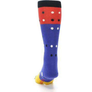 Image of Blue Red Gold Polka Dot Men's Dress Socks Socks (back-17)