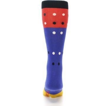 Image of Blue Red Gold Polka Dot Men's Dress Socks Socks (back-18)