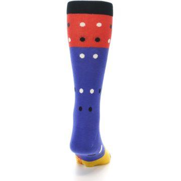 Image of Blue Red Gold Polka Dot Men's Dress Socks Socks (back-19)