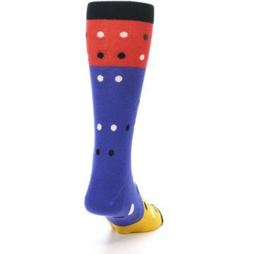 Image of Blue Red Gold Polka Dot Men's Dress Socks Socks (side-1-back-20)