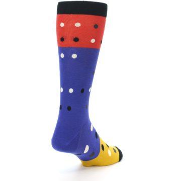 Image of Blue Red Gold Polka Dot Men's Dress Socks Socks (side-1-back-21)