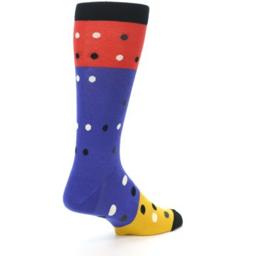 Image of Blue Red Gold Polka Dot Men's Dress Socks Socks (side-1-back-22)