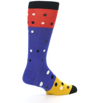 Image of Blue Red Gold Polka Dot Men's Dress Socks Socks (side-1-23)