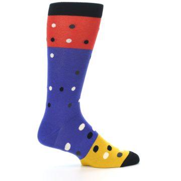 Image of Blue Red Gold Polka Dot Men's Dress Socks Socks (side-1-24)