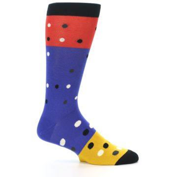 Image of Blue Red Gold Polka Dot Men's Dress Socks Socks (side-1-25)