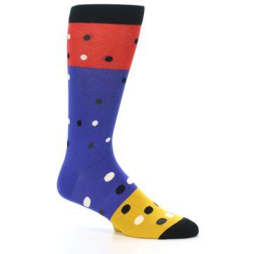 Image of Blue Red Gold Polka Dot Men's Dress Socks Socks (side-1-26)
