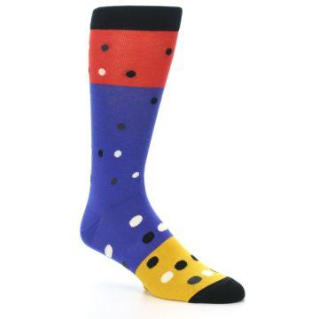 Image of Blue Red Gold Polka Dot Men's Dress Socks Socks (side-1-27)