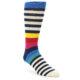 Image of Navy Cream Red Yellow Blue Stripe Men's Dress Socks Socks (side-1-front-01)