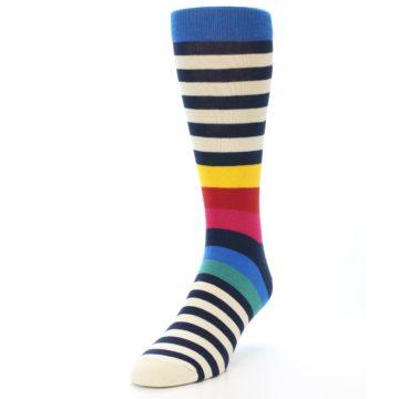 Image of Navy Cream Red Yellow Blue Stripe Men's Dress Socks Socks (side-2-front-07)