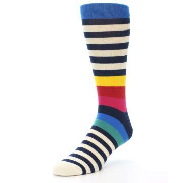 Image of Navy Cream Red Yellow Blue Stripe Men's Dress Socks Socks (side-2-front-08)