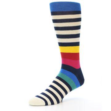 Image of Navy Cream Red Yellow Blue Stripe Men's Dress Socks Socks (side-2-09)