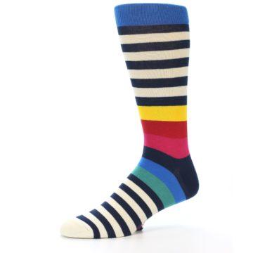 Image of Navy Cream Red Yellow Blue Stripe Men's Dress Socks Socks (side-2-10)