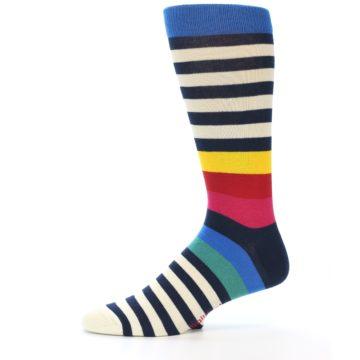 Image of Navy Cream Red Yellow Blue Stripe Men's Dress Socks Socks (side-2-11)
