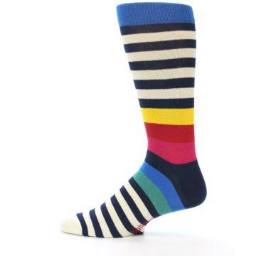 Image of Navy Cream Red Yellow Blue Stripe Men's Dress Socks Socks (side-2-12)