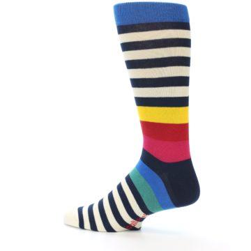 Image of Navy Cream Red Yellow Blue Stripe Men's Dress Socks Socks (side-2-13)