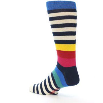 Image of Navy Cream Red Yellow Blue Stripe Men's Dress Socks Socks (side-2-back-14)