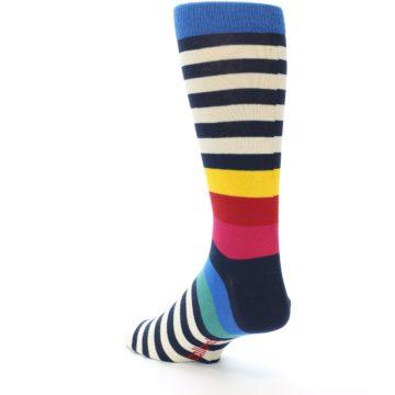 Image of Navy Cream Red Yellow Blue Stripe Men's Dress Socks Socks (side-2-back-15)