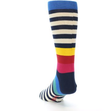 Image of Navy Cream Red Yellow Blue Stripe Men's Dress Socks Socks (side-2-back-16)