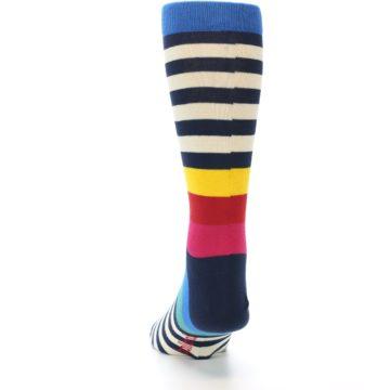Image of Navy Cream Red Yellow Blue Stripe Men's Dress Socks Socks (back-17)