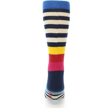 Image of Navy Cream Red Yellow Blue Stripe Men's Dress Socks Socks (back-18)