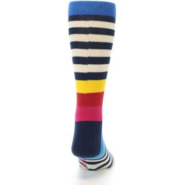 Image of Navy Cream Red Yellow Blue Stripe Men's Dress Socks Socks (back-19)