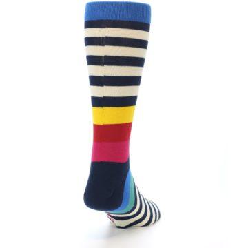 Image of Navy Cream Red Yellow Blue Stripe Men's Dress Socks Socks (side-1-back-20)