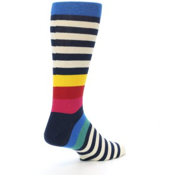 Image of Navy Cream Red Yellow Blue Stripe Men's Dress Socks Socks (side-1-back-22)