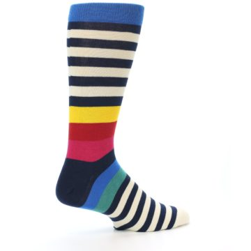Image of Navy Cream Red Yellow Blue Stripe Men's Dress Socks Socks (side-1-23)