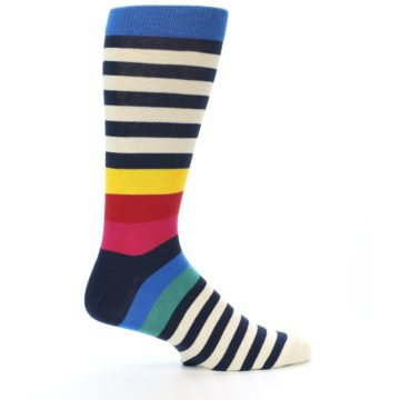 Image of Navy Cream Red Yellow Blue Stripe Men's Dress Socks Socks (side-1-24)