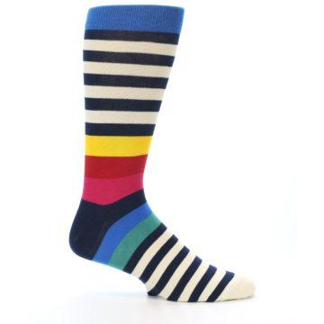 Image of Navy Cream Red Yellow Blue Stripe Men's Dress Socks Socks (side-1-25)