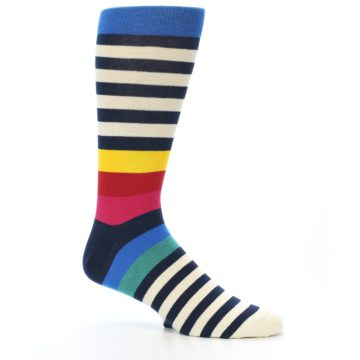 Image of Navy Cream Red Yellow Blue Stripe Men's Dress Socks Socks (side-1-26)