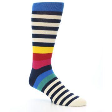 Image of Navy Cream Red Yellow Blue Stripe Men's Dress Socks Socks (side-1-27)