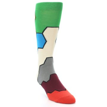 Image of Multi-Color Honeycomb Pattern Men's Dress Socks Socks (side-1-front-02)