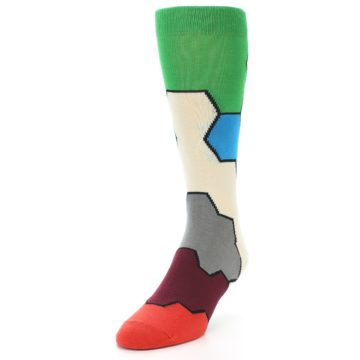 Image of Multi-Color Honeycomb Pattern Men's Dress Socks Socks (side-2-front-07)