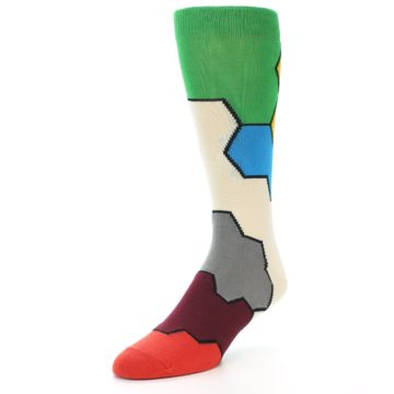 Image of Multi-Color Honeycomb Pattern Men's Dress Socks Socks (side-2-front-08)