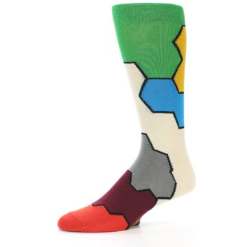 Image of Multi-Color Honeycomb Pattern Men's Dress Socks Socks (side-2-10)