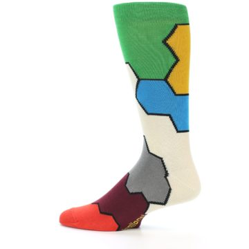 Image of Multi-Color Honeycomb Pattern Men's Dress Socks Socks (side-2-12)