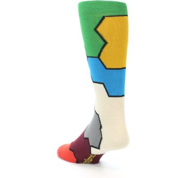 Image of Multi-Color Honeycomb Pattern Men's Dress Socks Socks (side-2-back-15)