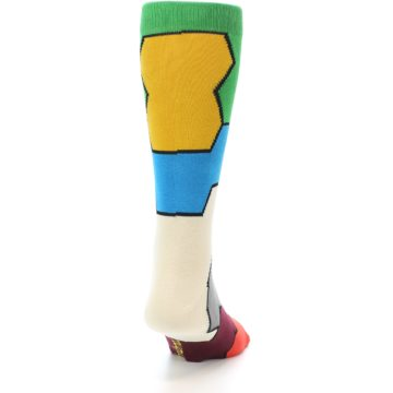 Image of Multi-Color Honeycomb Pattern Men's Dress Socks Socks (back-19)