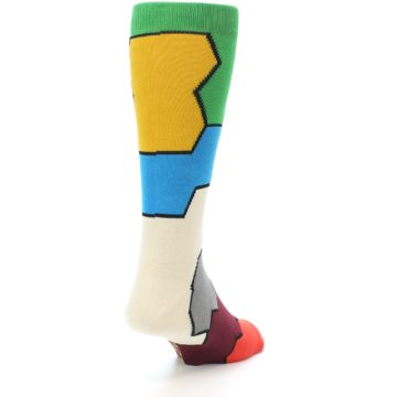 Image of Multi-Color Honeycomb Pattern Men's Dress Socks Socks (side-1-back-20)