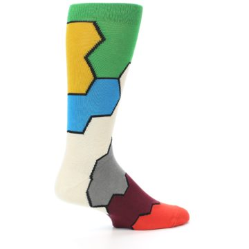 Image of Multi-Color Honeycomb Pattern Men's Dress Socks Socks (side-1-23)