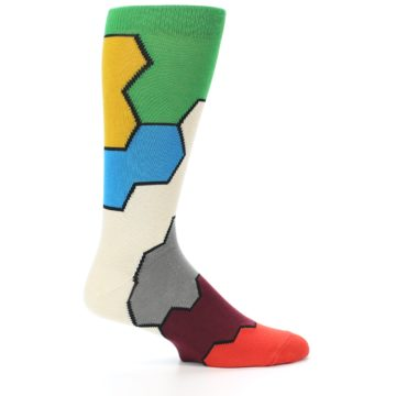 Image of Multi-Color Honeycomb Pattern Men's Dress Socks Socks (side-1-24)