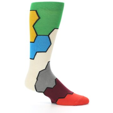Image of Multi-Color Honeycomb Pattern Men's Dress Socks Socks (side-1-25)