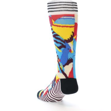 Image of Multi-Color Bird Pattern Men's Casual Socks (side-2-back-15)