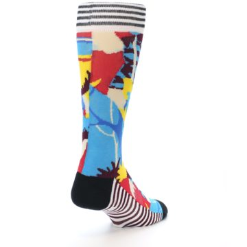 Image of Multi-Color Bird Pattern Men's Casual Socks (side-1-back-20)
