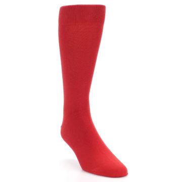 Image of Red Solid Color Men's Dress Socks (side-1-front-02)