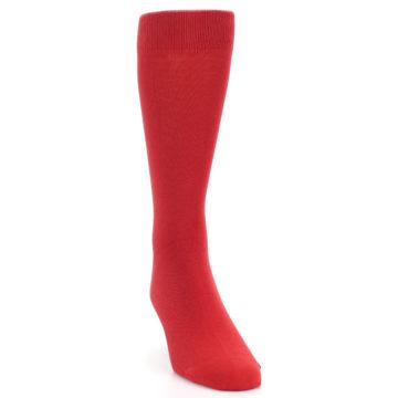 Image of Red Solid Color Men's Dress Socks (side-1-front-03)