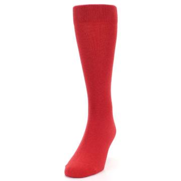 Image of Red Solid Color Men's Dress Socks (side-2-front-06)