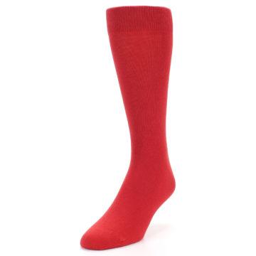 Image of Red Solid Color Men's Dress Socks (side-2-front-07)