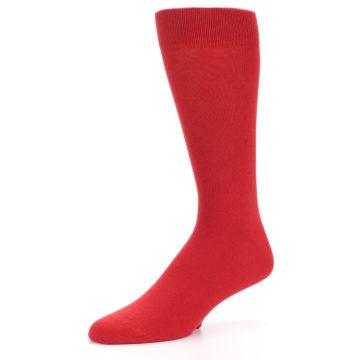 Image of Red Solid Color Men's Dress Socks (side-2-09)